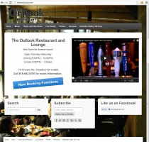 A restaurant/bar homepage for the Outlook Restaurant featuring video, hours of operation, and a big call to action button.